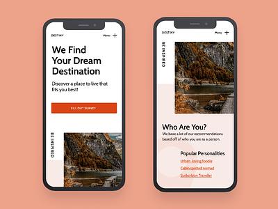 Destiny | Morning UI orange pink design clean uidesign typgraphy minimal destination travel web design web mobile site mobile ui mobile ui simple