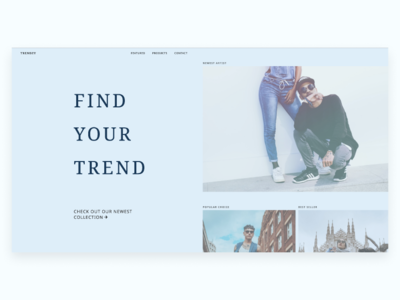 Trendzy | Morning UI contemporary modern trendy web design ecommerce typography clean blue morningui webflow uidesign web site design web site ui simple fashion minimal