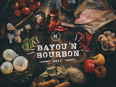 Bayou N' Bourbon restaurant creole lettering set bourbon bayou direction art shoot photo