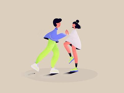 La La Land rythm fun rock and roll party couple dance dancers colorful vector branding design illustration