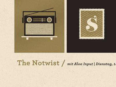 Notwist Gig Poster gig poster screenprint the notwist gold black