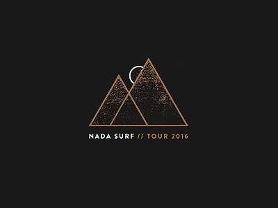 Nada Surf Tour 2016 Design minimalism tourshirt white gold triangle moon shirtdesign shirt mountains indie surf nada