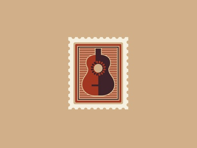 Gaby Moreno Stamp shadow flat pictogram icon flower illusion letter acoustic guitar stamp