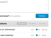Part of the UI for a 'Questions' based website