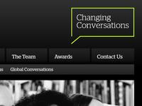Website navigation and tagline