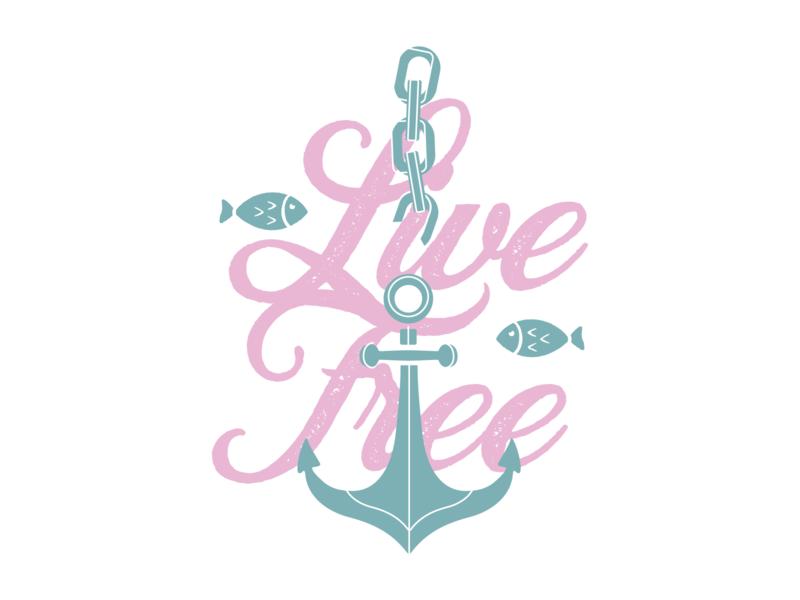 Live Free Shirt Design chain break chain water live live free turquoise pink graphicdesign sea fish beach ocean life anchor t-shirt shirt