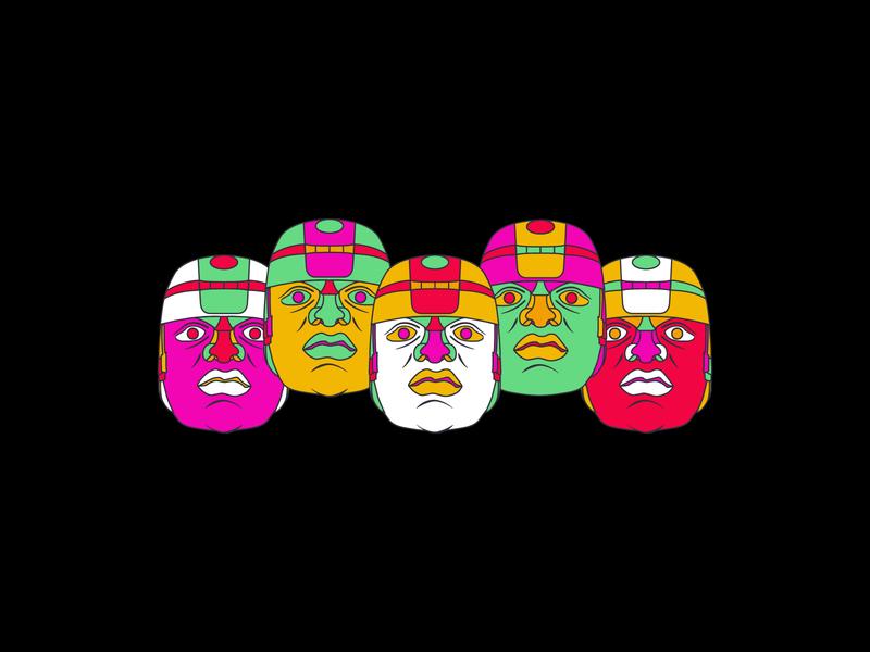 Olmec Heads   1 graphic designer jay yoder design illustration designer olmecs african history african heads statue heads statue mexico colors olmec design mexico history mexico illustrator illustration graphic design olmec heads olmec