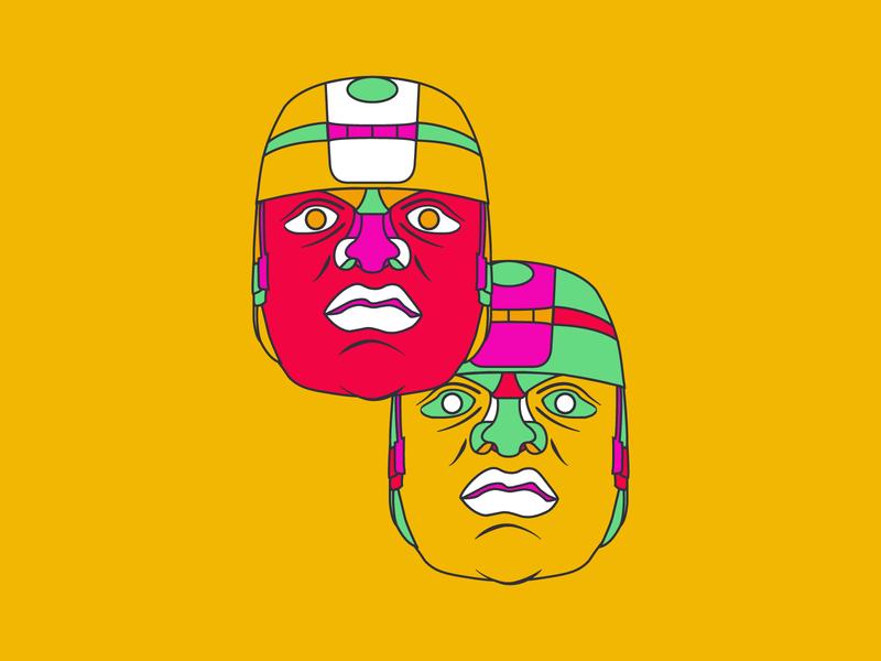 Olmec Heads   2 ancient faces face design mexico colors vibrant colors line art digital art illustration illustrator graphic designer graphicdesign jay yoder design olmec heads mexico design mexico olmec design olmecs olmec