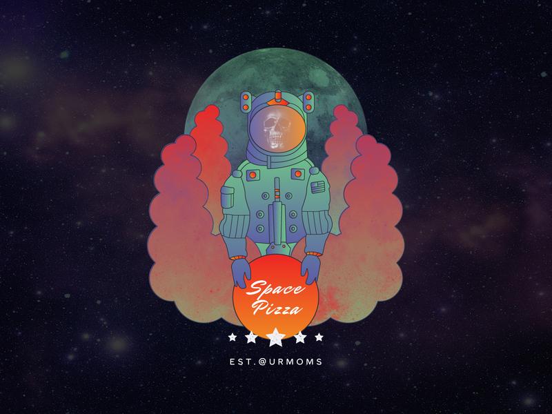 Space Pizza illustrator design vectorart line art planet moon shirt design shirtdesign shirt stars space suit bones skull textures mask illustration astronaut space pizza