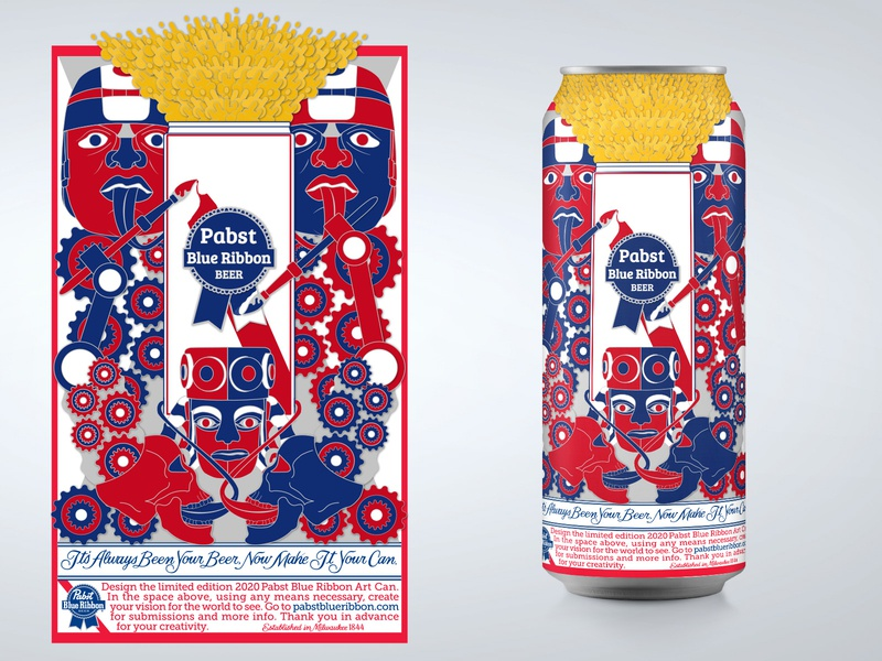 PBR Art contest adobe illustrator beer can design beer deign pbr art 2020 pbr 2020 pbr art contest 2020 pbr art tall can beer can beer illustration drop shadow graphic art design graphic design pabst blue ribbon pabst pbr