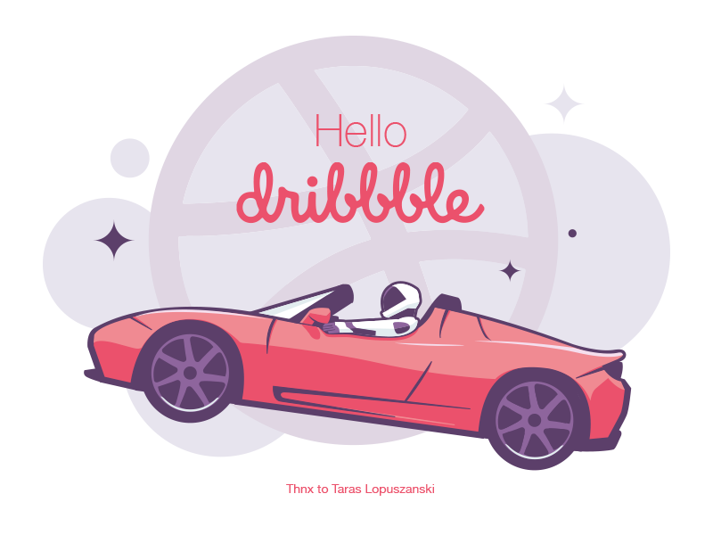 Hello dribble, I'm on orbit tesla roadster hello dribbble falcon heavy debut