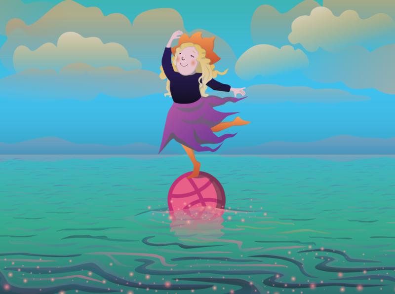 fairy персонаж девочка море книжная иллюстрация природа фея на мяче векторная иллюстрация милая девочка детская иллюстрация баскетбольный мяч мяч hello dribbble девочка на мяче волшебница морской пейзаж fairy tale fantasy fairy