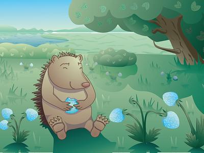 happy hedgehog fairy tale векторная иллюстрация персонаж еж голубая клубника клубника детская иллюстрация летнее настроение летняя иллюстрация природа поляна волшебная поляна клубничная поляна ягодная поляна еж счастливый еж