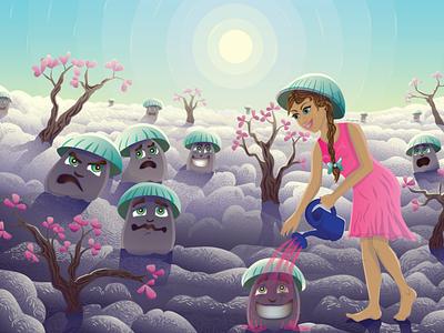 magic mushroom glade поляна на облаках галюциногенные грибы волшебные грибы грибы грибная поляна поляна волшебная поляна волшебная лейка лейка девушка с лейкой персонаж персонаж волшебница волшебница природа illustration fairy fantasy векторная иллюстрация детская иллюстрация fairy tale