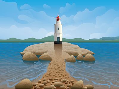 lighthouse летнее настроение лето illustration векторная иллюстрация природа пейзаж морской пейзаж маяк