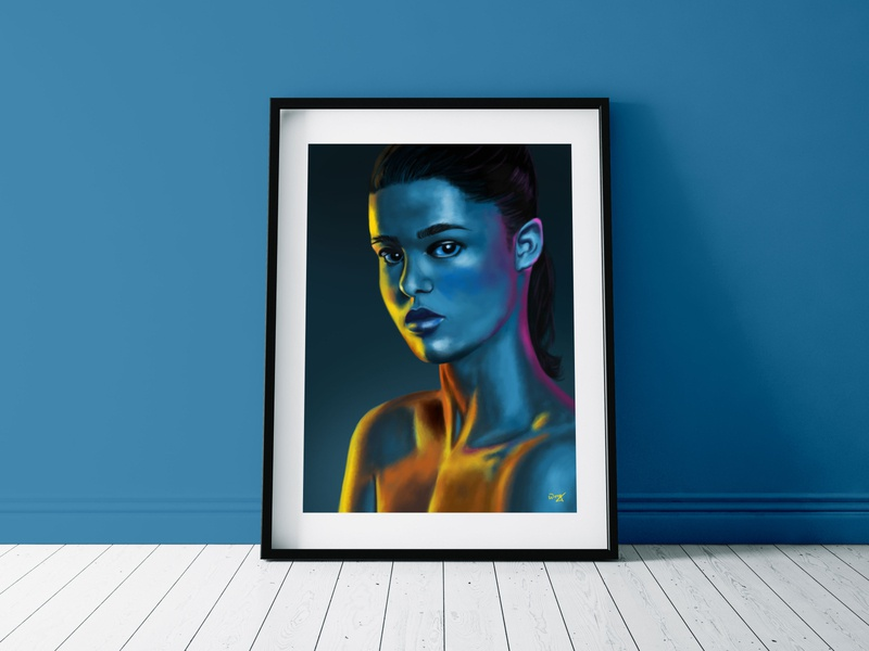 Neon Light on Girl Portrait photoshoot portrait painting painting girls illustration artwork digital art