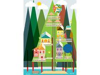 Little Houses On Pine Tree