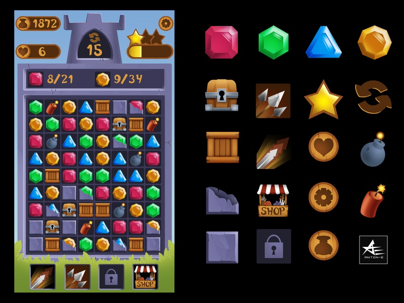 Match 3 game shop bomb castle jewel gems crystal fantasy casusl illustration ability design game design icon cg game art mobile game star gameplay match3