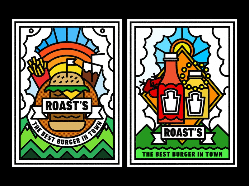 Roast´s badge thick lines texture design illustration geometric mustard ketchup sun soda french fries burguer american food food