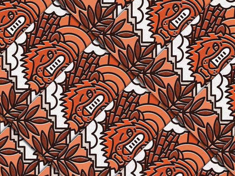 Brave nature lines icon badge thick lines texture design illustration geometric animal illustration animal feline tiger