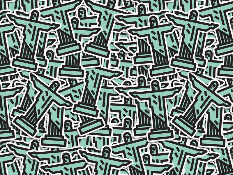 Christ lines icon badge thick lines texture design illustration geometric clean jesus rio de janeiro christ