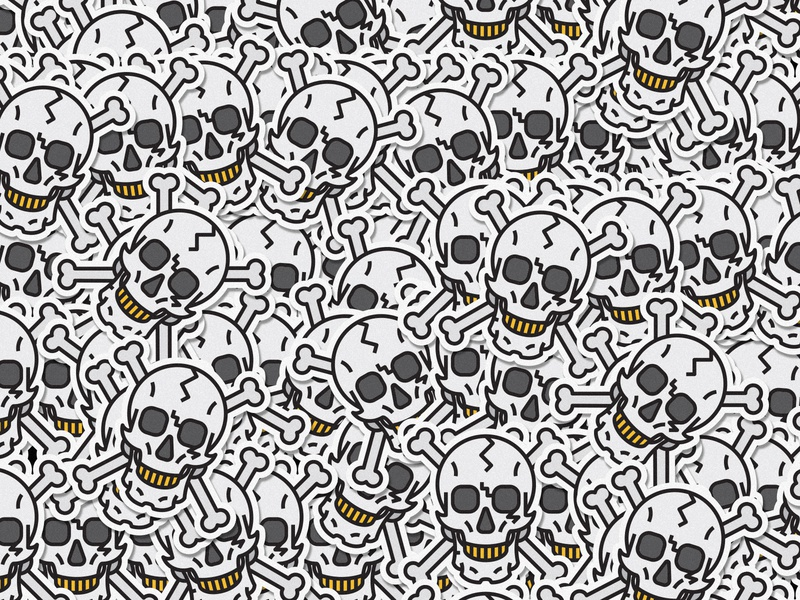 Skull animal lines icon badge thick lines texture design illustration geometric sketch skull