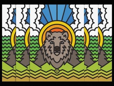 Ursus paw savage animal illustration nature lines animal badge icon thick lines texture design illustration geometric ursus bear