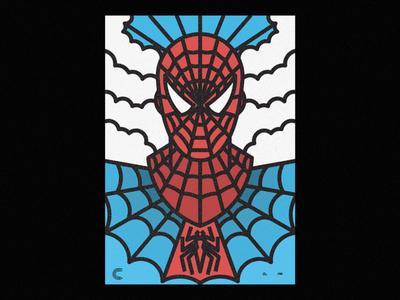 Spider Man lines icon badge thick lines texture design illustration geometric movie marvel spider-man spider spiderman