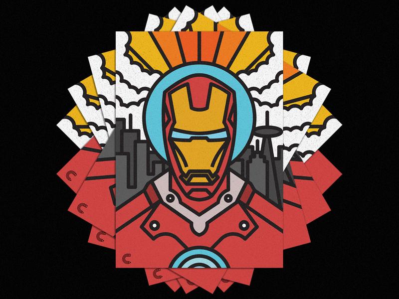 Iron Man vector lines icon thick lines texture design illustration geometric marcel iron man ironman iron