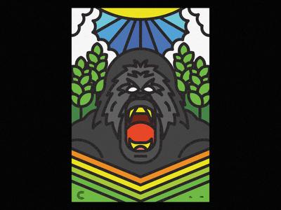 Gorillazz animal illustration monkey animals ecosystem nature lines animal icon thick lines texture design illustration geometric gorilla