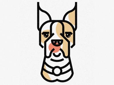 Boxer nature lines icon thick lines texture design illustration geometric pet animal dog boxer bulldog