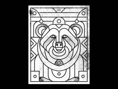 Bear poster nature animal badge lines icon thick lines texture design illustration geometric