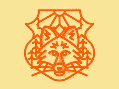 Fox nature animal badge lines icon thick lines texture design illustration geometric fox logo fox