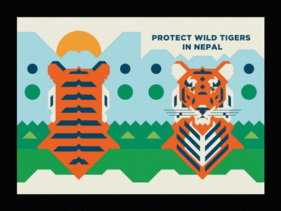 Protect Wild Tigers in Nepal sun tiger vector vector illustrator ecosystem nature animal lines texture design illustration wild animal wildlife geometric nepal tigers protection wild