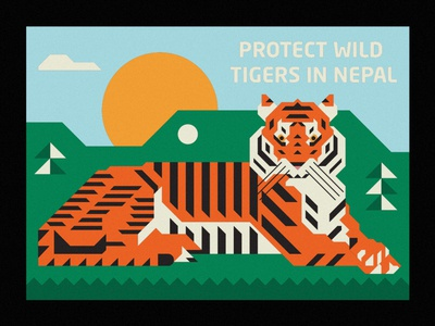 Protect Wild Tigers in Nepal animal illustration tiger mascot tiger sun nature animal badge thick lines design illustration geometric wild animal wildlife nepal wild protect tigers