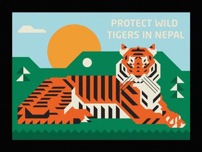 Protect Wild Tigers in Nepal animal illustration tiger mascot tiger sun nature animal badge thick lines design illustration geometric wild animal wildlife nepal wild protect tigers