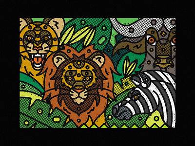 African Wildlife buffalo zebra lions poster art poster a day print illustration art artwork poster vector art digital art digital illustration geometric illustration design thick lines nature ecosystem animal animal illustration