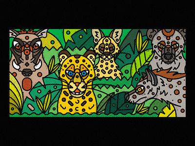 African Wildlife hyenas serval warthog leopards illustration art artwork poster vector art digital art digital illustration society6 geometric illustration design texture thick lines nature ecosystem animal animal illustration