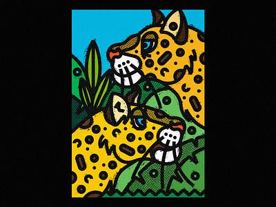 Leopards leopards poster art poster a day print illustration art artwork poster vector art digital art digital illustration society6 geometric illustration design texture thick lines nature ecosystem animal animal illustration