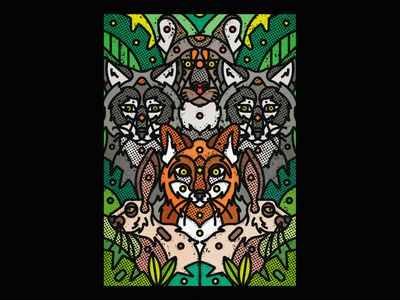 Arizona Wildlife red fox jungle rabbit mountain lion puma wolf wildlife arizona vector art digital illustration digital art artwork art print screen print wall art poster design poster challenge poster art print poster