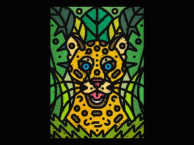 Leopard leopard fauna zoo botanical leaf contemporary modern jungle plants leaves floral safari wild illustration art-print forest line-art nature animals