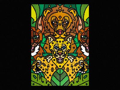 African Wildlife africa caracal lion leopard fauna botanical leaf contemporary modern jungle safari wild illustration forest line-art nature animals wildlife