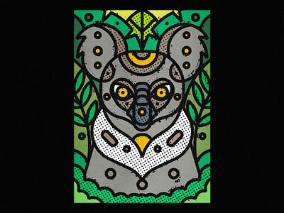 Koala koala fauna zoo botanical leaf contemporary modern jungle plants leaves floral safari wild illustration art-print forest line-art nature animals wildlife