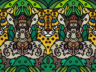 Costa Rica Wildlife | Jaguar, Tapir & White Faced Capuchin monkey tapir fauna costarica leaf contemporary modern jungle plants leaves floral safari wild illustration art-print forest line-art nature animals wildlife