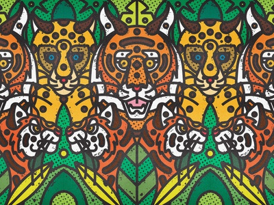 Indian Wildlife | Tigers & Leopards leopard tigers leopards tiger indian animals fauna leaf contemporary modern jungle plants leaves floral safari wild forest line-art nature animals wildlife