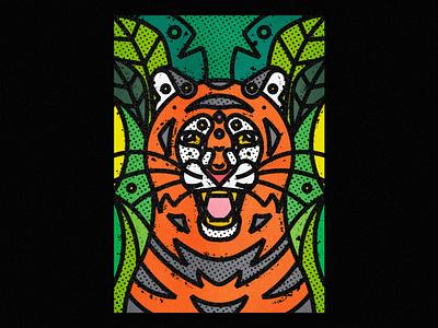 Siberian Tiger siberian tiger cat feline big cats wild tigers tiger fauna zoo contemporary modern jungle leaves safari wild illustration art-print line-art nature animals wildlife
