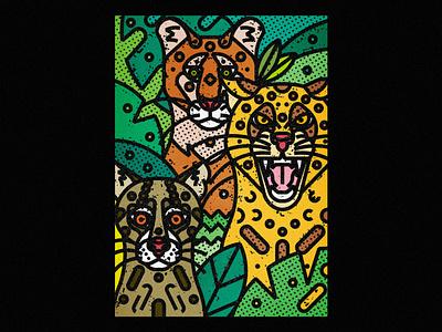 Wild Cats - Jaguar, Cougar & Ocelot wild cats jaguars cats ocelot puma jaguar fauna zoo contemporary modern jungle leaves safari wild illustration art-print line-art nature animals wildlife