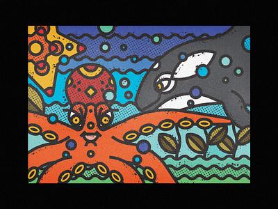 Sea Animals - Orca, Octopus & Starfish waves ocean life sea animals octopus starfish whale orca ocean sea fauna zoo contemporary modern wild illustration art-print line-art nature animals wildlife