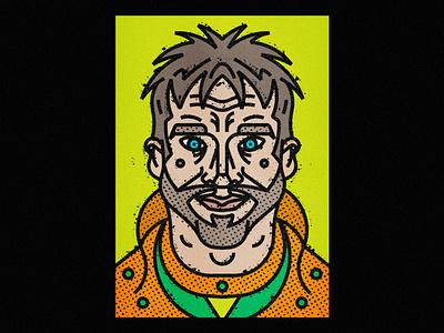 Cool Guy nose geometrical portrait lines man boy thick lines people illustration vectorart art print human beard eyes face hair cool guy men line-art