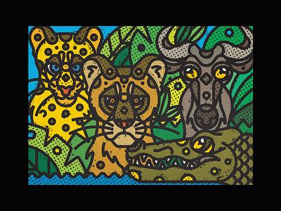 African Wildlife - Lioness, Leopard, Wildebeest, Nile Crocodile african animals africa crocodile wildebeest leopard lioness fauna zoo contemporary modern jungle leaves safari wild illustration art-print line-art nature animals wildlife